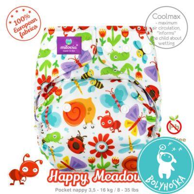 Milovia Happy Meadow Coolmax egyméretes zsebes mosható pelenka (4-16kg)
